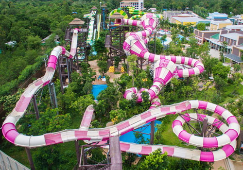 all the water park equipment include Tornado slides, Boomrango slide, Super bowl slide,Whizzard slides, Magic loop slide, Medium water house, Constrictor slide, Tantrum Valley slide and so on